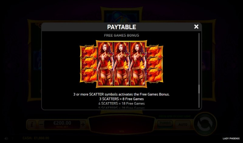 Lady Phoenix :: Free Spins Rules