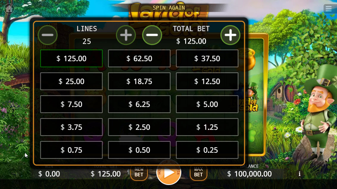 Land of Gold :: Available Betting Options