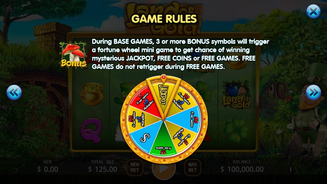 Land of Gold :: Bonus Game Rules