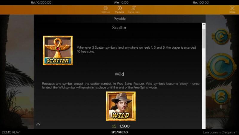 Lara Jones is Cleopatra II :: Wild and Scatter Rules