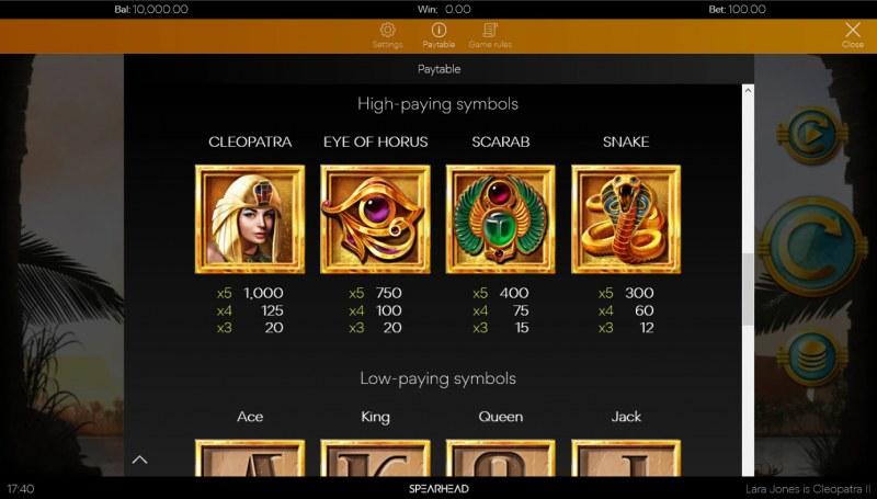 Lara Jones is Cleopatra II :: Paytable - High Value Symbols