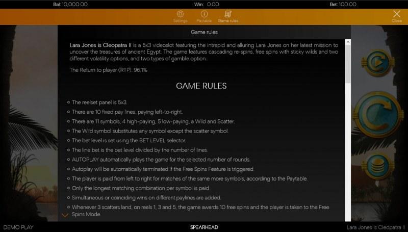 Lara Jones is Cleopatra II :: General Game Rules