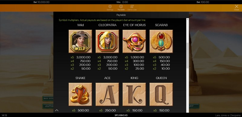 Lara Jones is Cleopatra :: Paytable - High Value Symbols