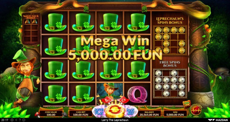 Larry the Leprechaun :: Multiple winning combinations leads to a big win