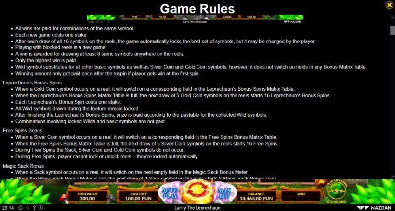 Larry the Leprechaun :: General Game Rules