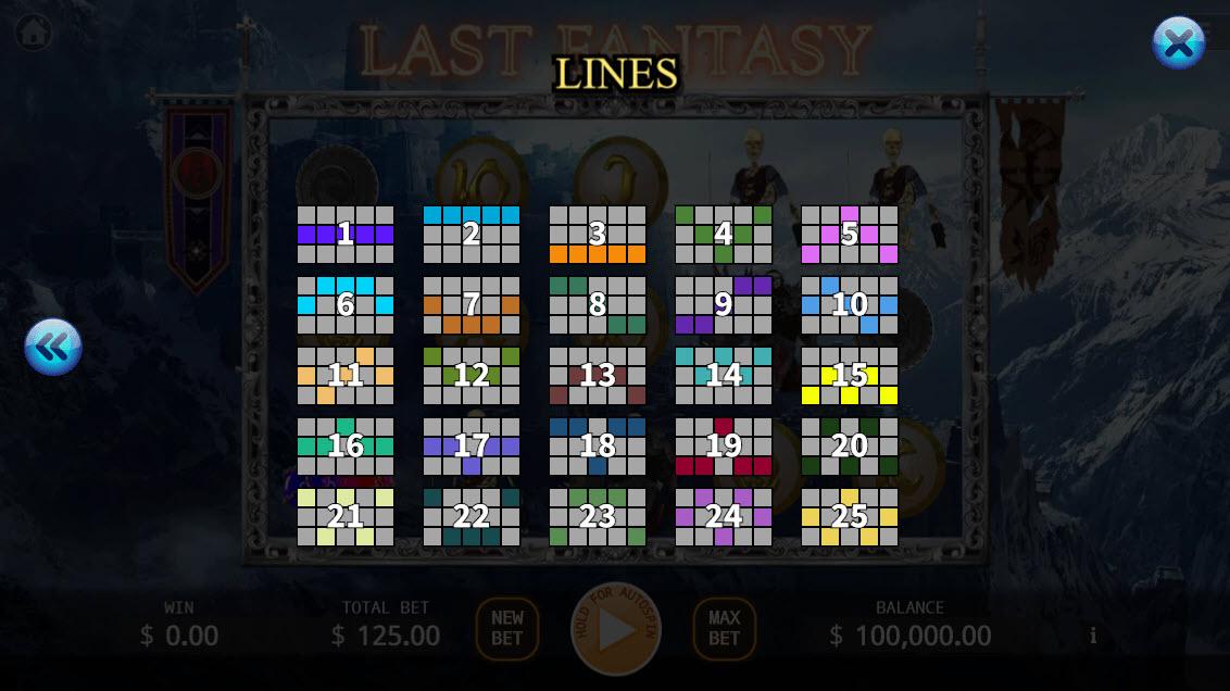 Last Fantasy :: Paylines 1-25
