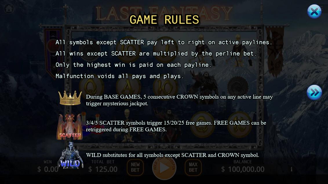 Last Fantasy :: General Game Rules
