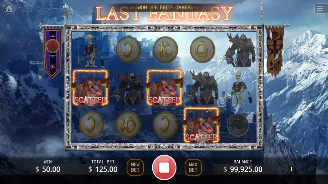 Last Fantasy :: Scatter symbols triggers the free spins feature