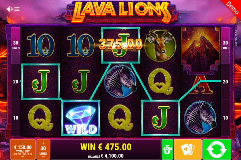 Lava Lions :: A four of a kind win