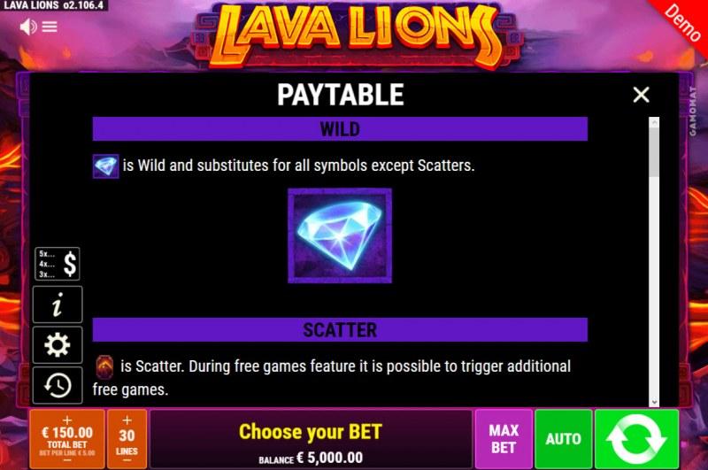 Lava Lions :: Wild Symbol Rules