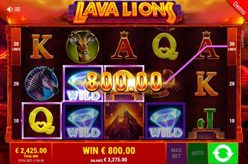 Lava Lions :: A three of a kind win