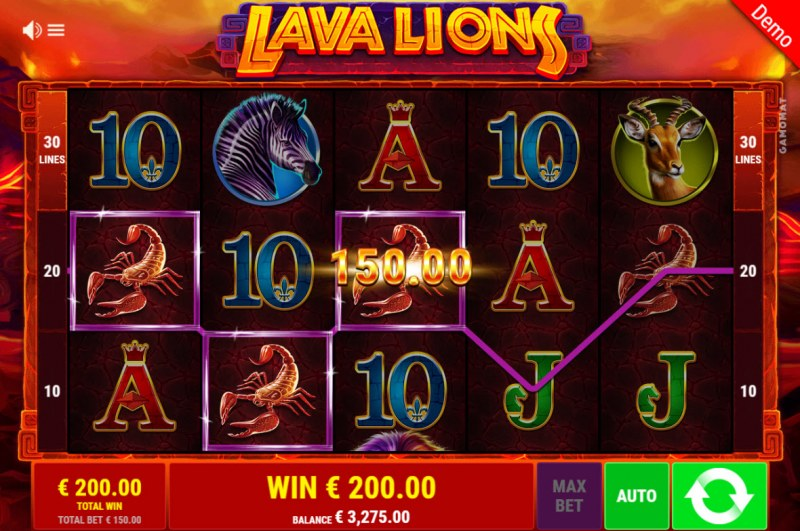 Lava Lions :: Free Spins Game Board