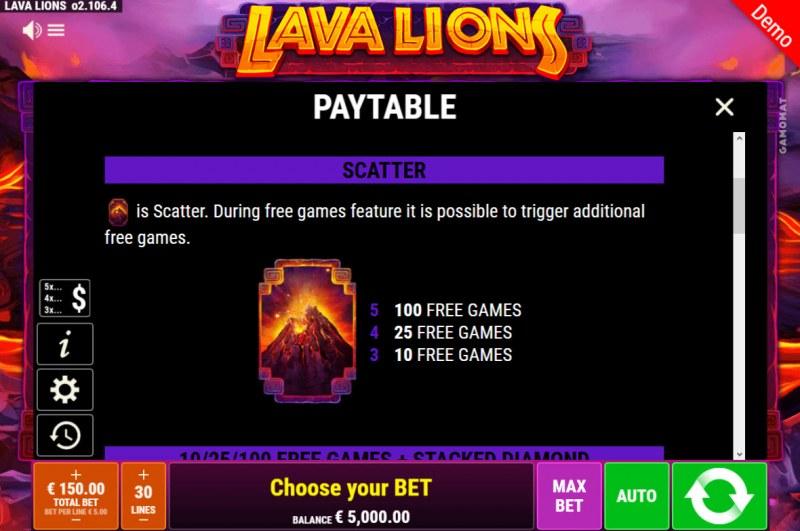 Lava Lions :: Scatter Symbol Rules