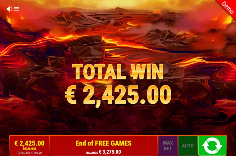 Lava Lions :: Total Free Spins Payout