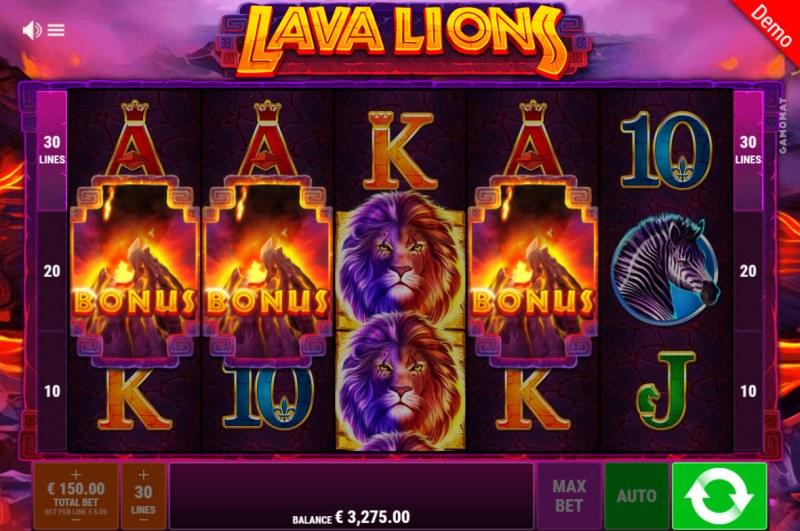 Lava Lions :: Scatter symbols triggers the free spins bonus feature