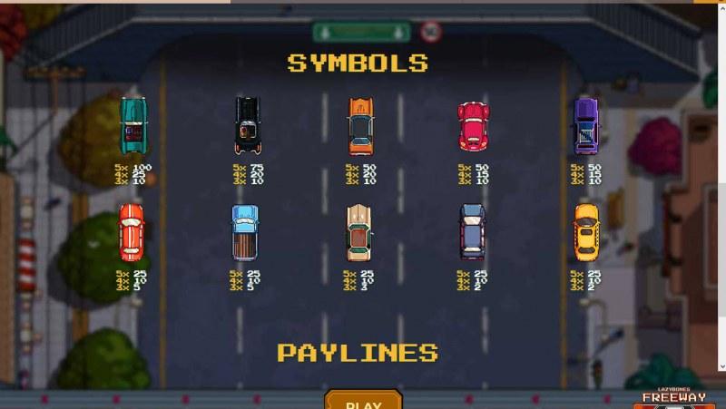 Lazy Bones Freeway :: Paytable