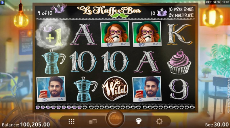 Le Kaffee Bar :: Collecting 10 or more scatter symbols triggers Free Spins