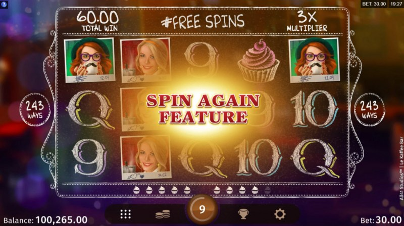 Le Kaffee Bar :: Free Spins Game Board