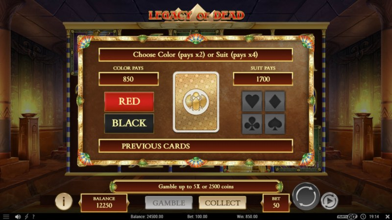 Legacy of Dead :: Gamble Feature Game Board