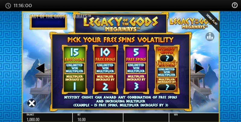 Legacy of the Gods Megaways :: Pick Your Free Games