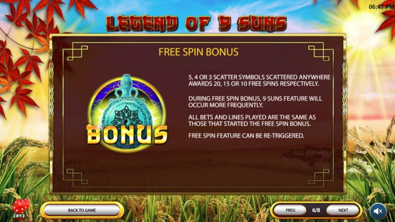 Legend of 9 Suns :: Free Spins Rules