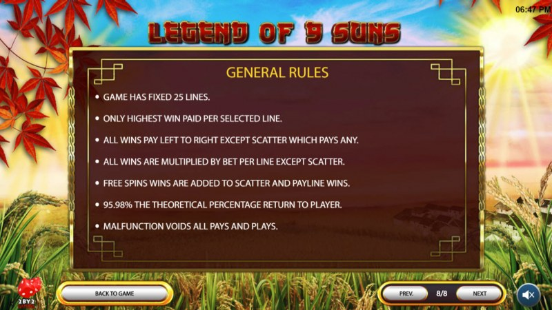 Legend of 9 Suns :: General Game Rules