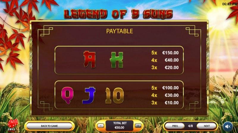 Legend of 9 Suns :: Paytable - Low Value Symbols