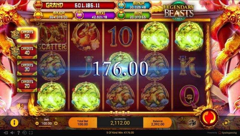 Legendary Beasts Saga :: Multiple winning combinations lead to a big win