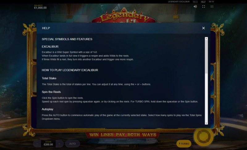 Legendary Excalibur :: General Game Rules