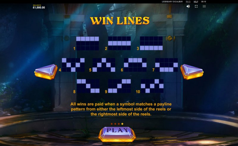 Legendary Excalibur :: Paylines 1-10