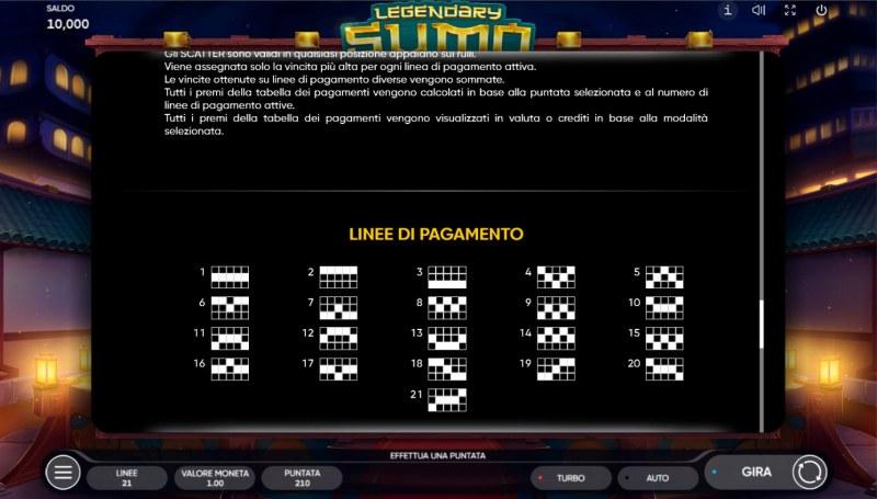 Legendary Sumo :: Paylines 1-21