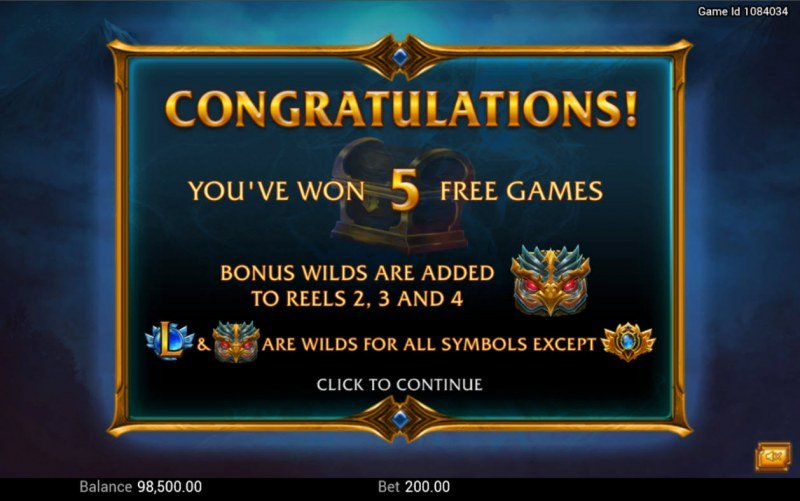 Legendary :: 5 free spins awarded