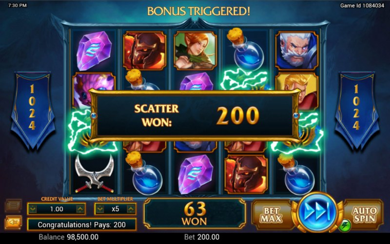 Legendary :: Scatter symbols triggers the free spins bonus feature