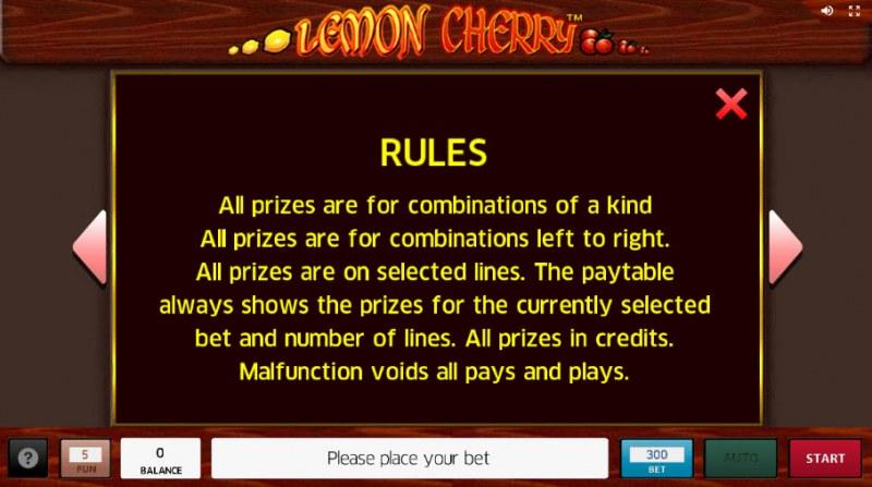 Lemon Cherry :: General Game Rules