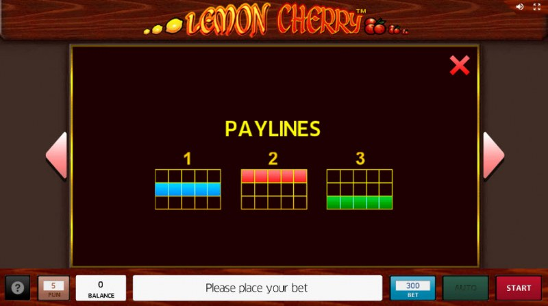 Lemon Cherry :: Paylines 1-3
