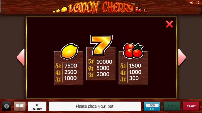 Lemon Cherry :: Paytable