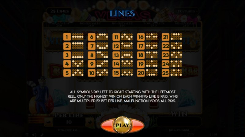 Lemur Does Vegas Easter Edition :: Paylines 1-25