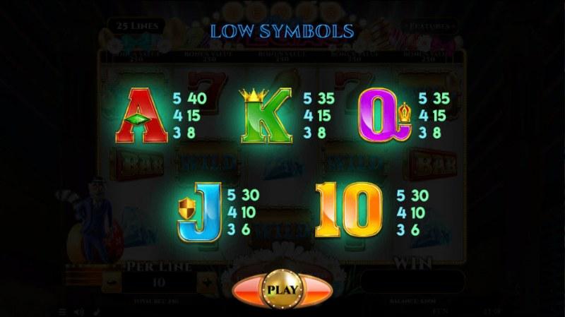 Lemur Does Vegas Easter Edition :: Paytable - Low Value Symbols