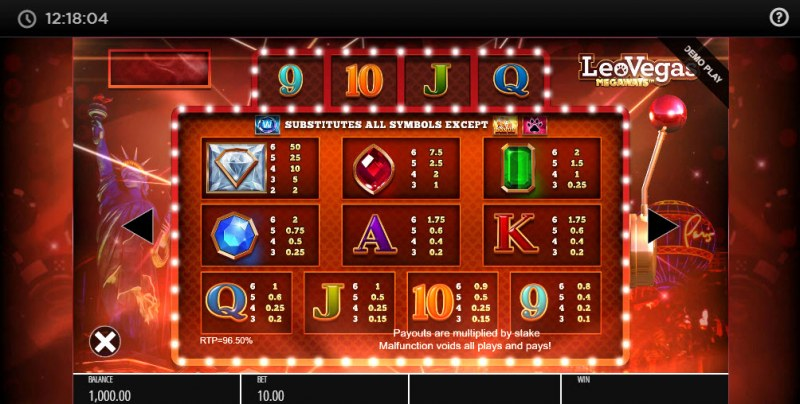 Leo Vegas Megaways :: Paytable