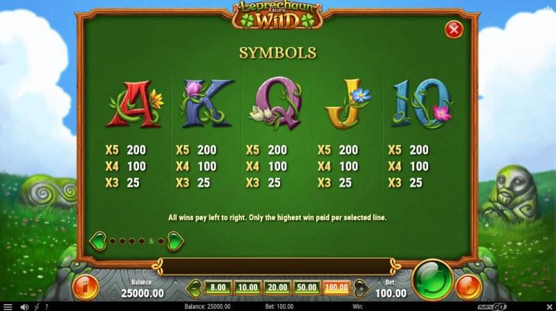Leprechaun Goes Wild :: Paytable - Low Value Symbols