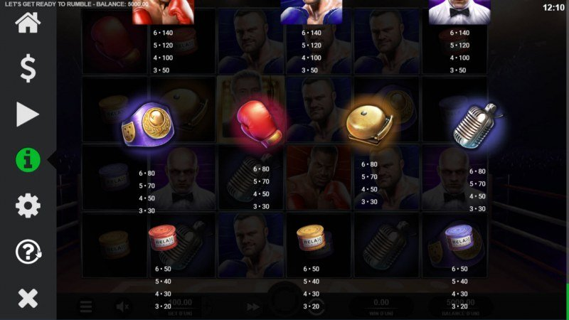 Let's Get Ready to Rumble :: Paytable - Low Value Symbols