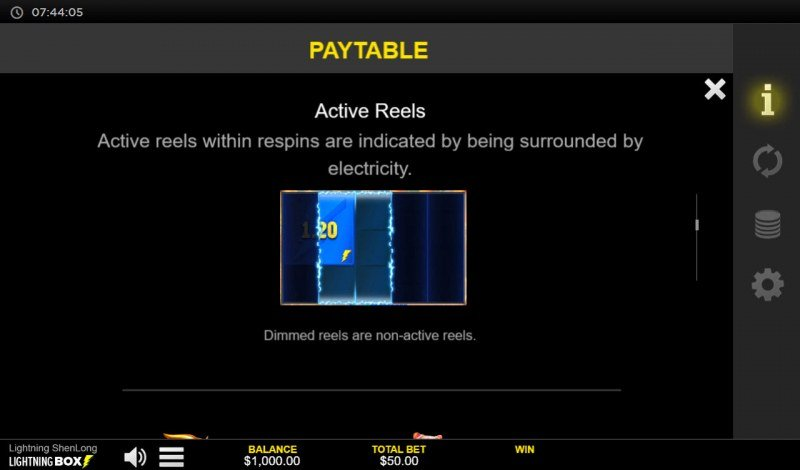 Lightning Shenlong :: Active Reels