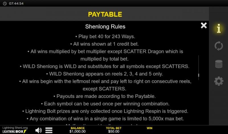 Lightning Shenlong :: General Game Rules