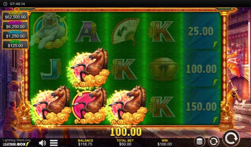 Lightning Shenlong :: A three of a kind win
