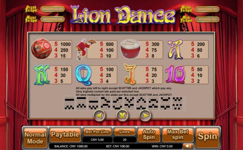 Lion Dance :: Paytable