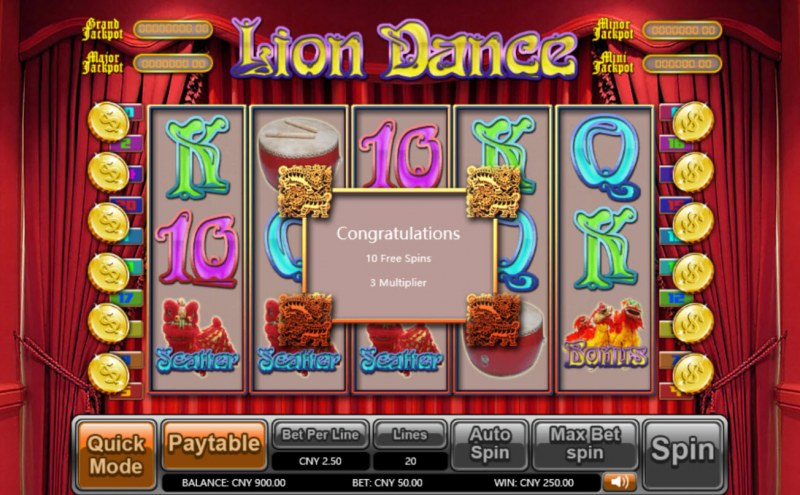 Lion Dance :: Scatter symbols triggers the free spins feature