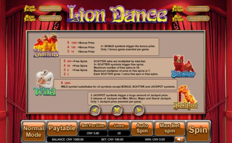 Lion Dance :: Bonus, Jackpot, Scatter and Wild Rules