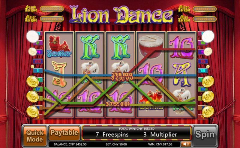 Lion Dance :: Multiple winning combinations leads to a big win
