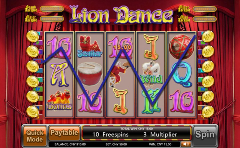 Lion Dance :: Free Spins Game Board