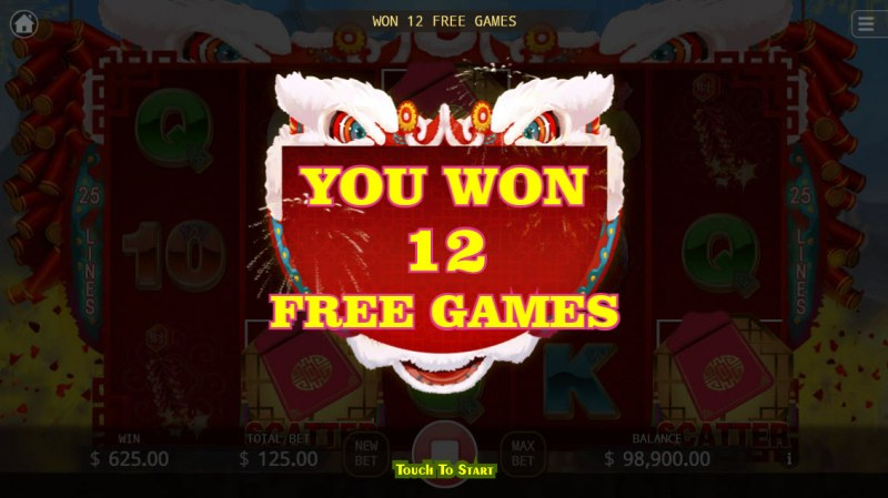 Lion Dance :: 12 Free Games Awarded